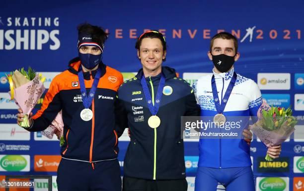 Silver medalist Patrick Roest of Netherlands, gold medalist Nils van der Poel of Sweden and bronze medalist Sergey Trofimov of Russian Skating Union...