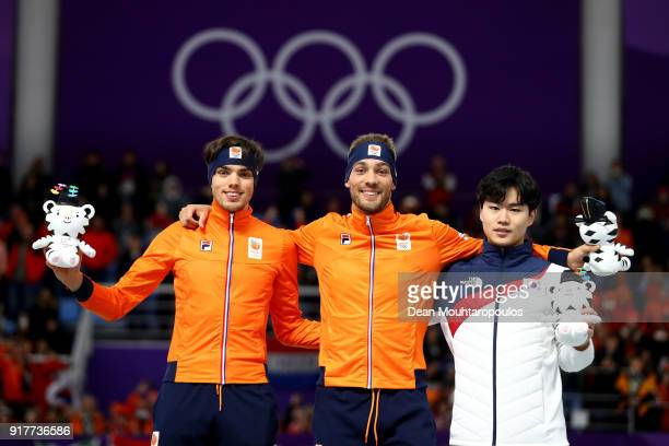 Silver medalist Patrick Roest of the Netherlands gold medalist Kjeld Nuis of the Netherlands and bronze medalist Min Seok Kim of Korea stand on the...