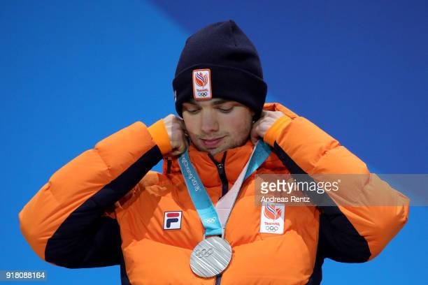 Silver medalist Patrick Roest of the Netherlands poses during the medal ceremony for the Men's 1500m Speed Skating on day five of the PyeongChang...