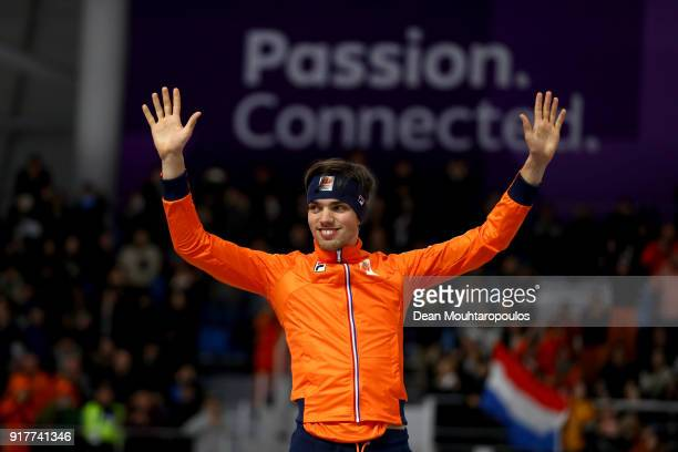 Silver medalist Patrick Roest of the Netherlands stand on the podium during the victory ceremony after the Men's 1500m Speed Skating on day four of...