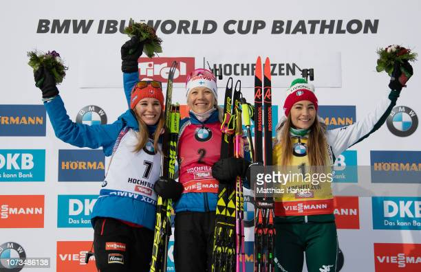 silver medalist Paulina Fialkova of Slovakia gold medalist Kaisa Makarainen of Finland and bronze medalist Dorothea Wierer of Itlay stand on the...