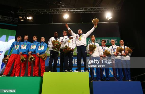 Silver medalist Pavel TrenikhinIurii TrambovetskiyKonstantin SvechkarVladimir Krasnov of Russia Gold medalists Michael Bingham Richard Buck Nigel...