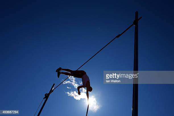 Silver medalist Pawel Wojciechowski of Poland competes in the Men's Pole Vault final during day five of the 22nd European Athletics Championships at...