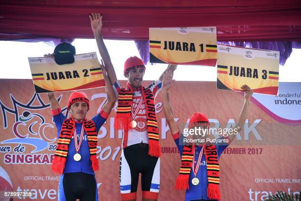 Silver medalist Peres Munos Wilmar Jahir of Team Sapura Cycling Malaysia gold medalist Khalil Khorsid of Tabriz Shahrdary Team Iran and bronze...
