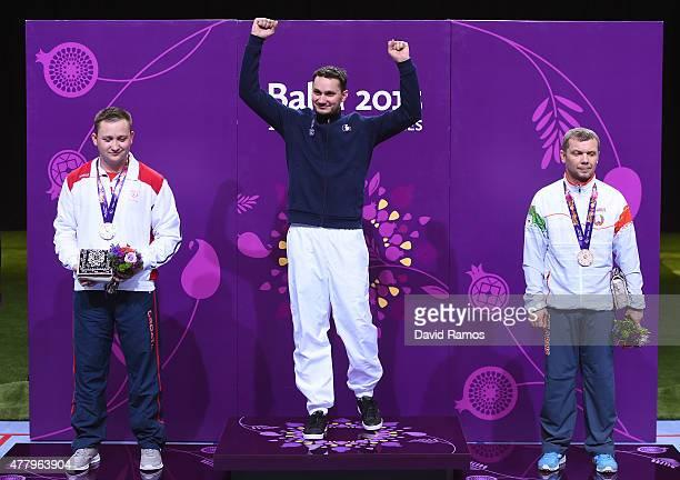 Silver medalist Petar Gorsa of Croatia gold medalist Valerian Sauveplane of France and bronze medalist Vitali Bubnovich of Belarus pose with the...