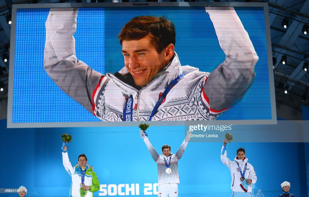 Silver medalist Peter Prevc of Slovenia, gold medalist Kamil Stoch of Poland and bronze medalist Anders Bardal of Norway celebrate during the medal ceremony for the Men's Ski Jump Normal Hill Individual Final on day 3 of the Sochi 2014 Winter Olympics at Medals Plaza in the Olympic Park on February 10, 2014 in Sochi, Russia.