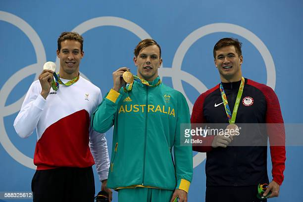 Silver medalist Pieter Timmers of Belgium Gold medalist Kyle Chalmers of Australia and Bronze medalist Nathan Adrian of the United States pose on the...