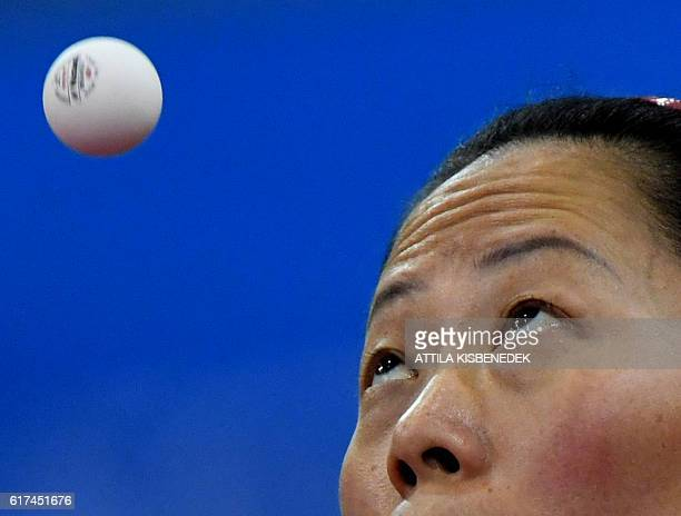 Silver medalist Portugal's Fu Yu plays against Turkey's Melek Hu in Tuskecsarnok sports hall of Budapest on October 23 2016 during the women final of...