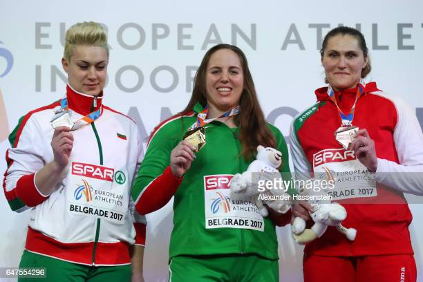 Silver medalist Radoslava Mavrodieva of Bulgaria gold medalist Anita Marton of Hungary and bronze medalist Yulia Leantsiuk of Belarus pose during the...