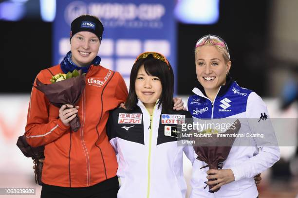 Silver medalist Ragne Wiklund of Norway gold medalist Ayano Sato of Japan and bronze medalist Francesca Lollobrigida of Italy pose during the medal...
