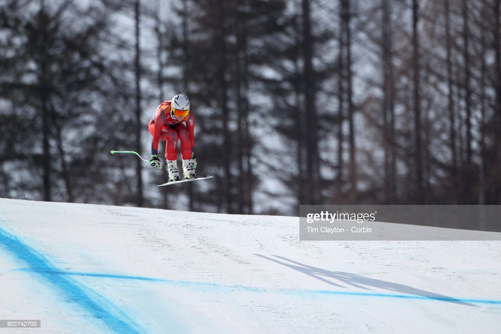Silver medalist Ragnhild Mowinckel #19 from Norway in action during the Alpine Skiing - Ladies' Downhill race at Jeongseon Alpine Centre on February 21, 2018 in PyeongChang, South Korea.