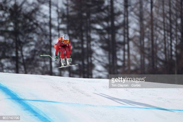 Silver medalist Ragnhild Mowinckel from Norway in action during the Alpine Skiing Ladies' Downhill race at Jeongseon Alpine Centre on February 21...