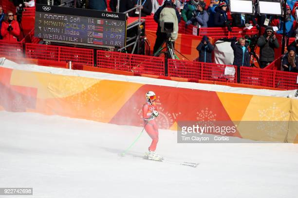 Silver medalist Ragnhild Mowinckel from Norway reacts to her time during the Alpine Skiing Ladies' Downhill race at Jeongseon Alpine Centre on...