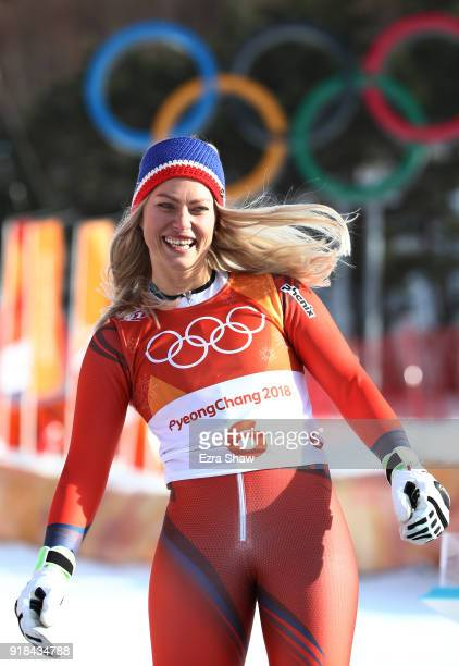 Silver medalist Ragnhild Mowinckel of Norway celebrates on the podium after the Ladies' Giant Slalom on day six of the PyeongChang 2018 Winter...
