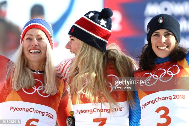 Silver medalist, Ragnhild Mowinckel of Norway, gold medalist, Mikaela Shiffrin of the United States and bronze medalist, Federica Brignone of Italy...