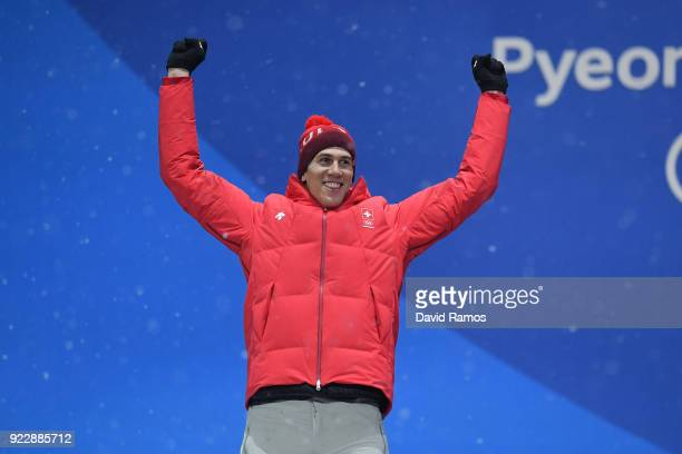 Silver medalist Ramon Zenhaeusern of Switzerland celebrates during the medal ceremony for Alpine Skiing Men's Slalom on day 13 of the PyeongChang...