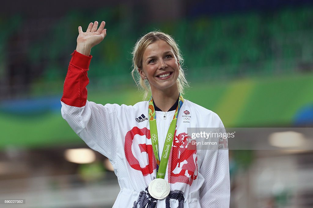 Silver medalist Rebecca James of Great Britain celebrates during the medal ceremony after the Women's Sprint Finals race on Day 11 of the Rio 2016 Olympic Games at the Rio Olympic Velodrome on August 16, 2016 in Rio de Janeiro, Brazil.
