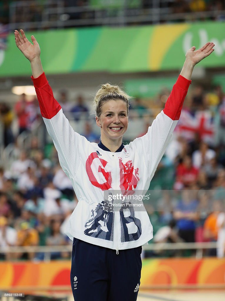 Silver medalist Rebecca James of Great Britain celebrates on the podium at the medal ceremony for the Women's Keirin on Day 8 of the Rio 2016 Olympic Games at the Rio Olympic Velodrome on August 13, 2016 in Rio de Janeiro, Brazil.