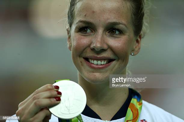 Silver medalist Rebecca James of Great Britain celebrates on the podium at the medal ceremony for the Women's Keirin on Day 8 of the Rio 2016 Olympic...