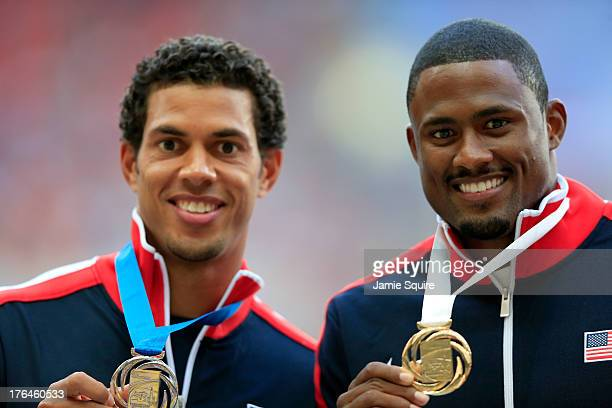 Silver medalist Ryan Wilson of the United States and gold medalist David Oliver of the United States stand on the podium during the medal ceremony...