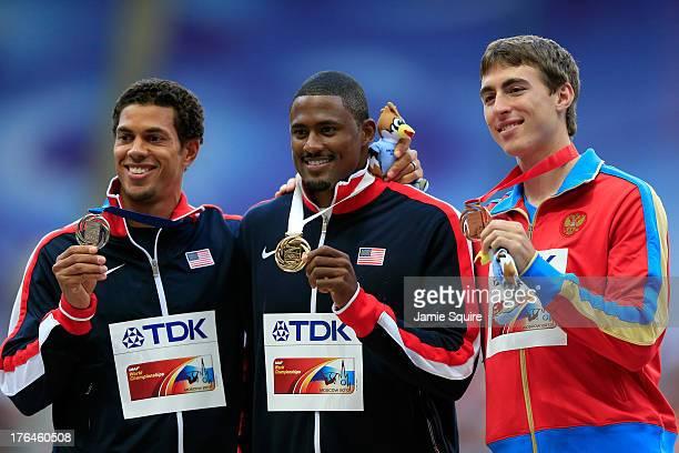 Silver medalist Ryan Wilson of the United States, gold medalist David Oliver of the United States and bronze medalist Sergey Shubenkov of Russia...