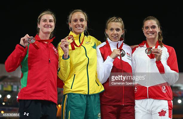Silver medalist Sally Peake of Wales Gold medalist Alana Boyd of Australia and bronze medalists Sally Scott of England and Alysha Newman of Canada on...