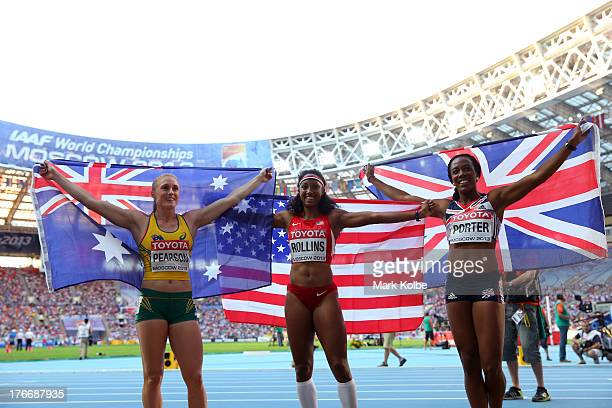 Silver medalist Sally Pearson of Australia gold medalist Brianna Rollins of the United States and bronze medalist Tiffany Porter of Great Britain...