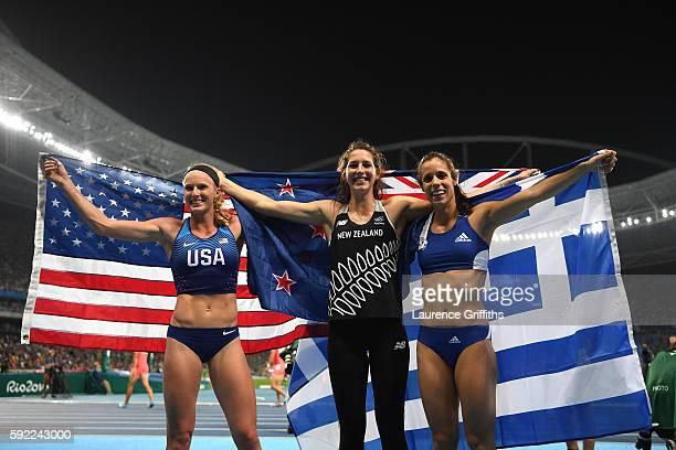 Silver medalist Sandi Morris of the United States gold medalist Ekaterini Stefanidi of Greece and bronze medalist Eliza Mccartney of New Zealand...