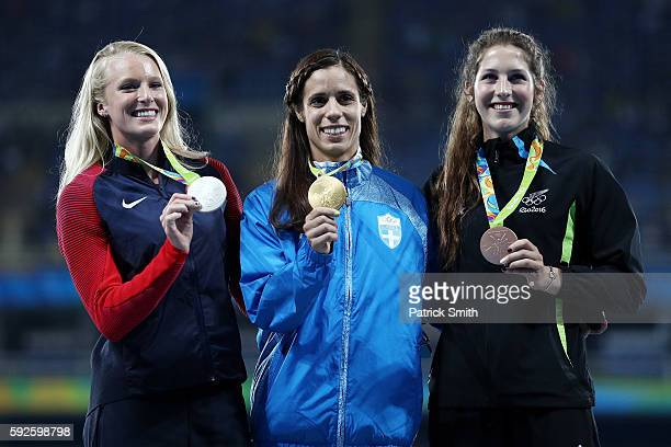 Silver medalist Sandi Morris of the United States, gold medalist Ekaterini Stefanidi of Greece and bronze medalist Eliza McCartney of New Zealand...