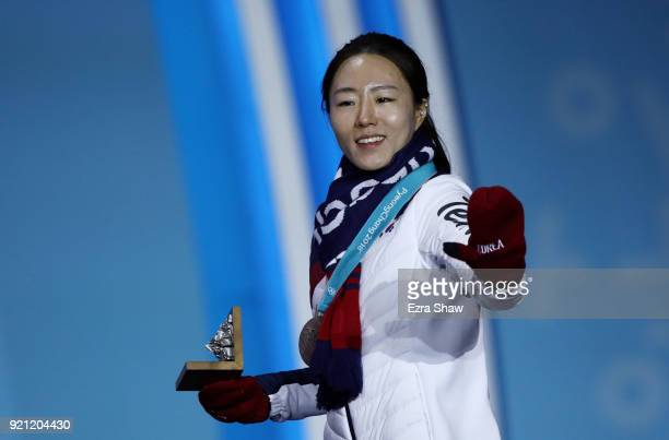 Silver medalist SangHwa Lee of Korea celebrates during the medal ceremony for Speed Skating Ladies' 500m on day 11 of the PyeongChang 2018 Winter...