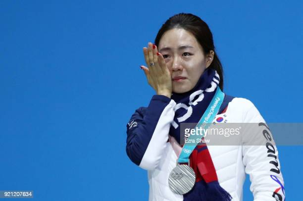 Silver medalist SangHwa Lee of Korea reacts during the medal ceremony for Speed Skating Ladies' 500m on day 11 of the PyeongChang 2018 Winter Olympic...