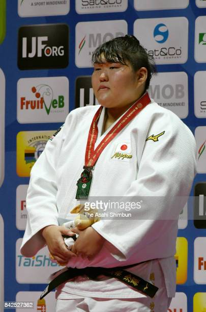Silver medalist Sara Asahina stands on the podium at the medal ceremony for the Women's 78kg during day six of the World Judo Championships at the...