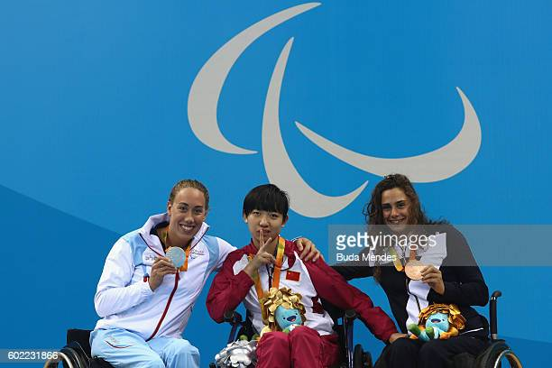 Silver medalist Sarah Louise Rung of Norway Gold medalist Xu Xihan of China and Giulia Ghiretti of Italy pose on the podium at the medal ceremony for...