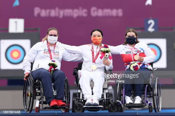 Silver medalist Sarka Musilova of Team Czech Republic, gold medalist Chen Minyi of Team China and bronze medalist Victoria Rumary of Team Great...