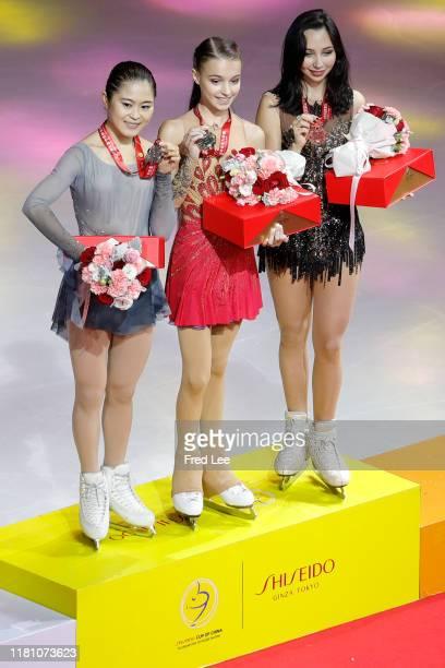 Silver medalist Satoko Miyahara of Japangold medalist Anna Shcherbakova of Russia and bronze medalist Elizaveta Tuktamysheva of Russia celebrates...