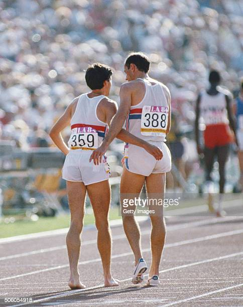 Silver medalist Sebastian Coe and Steve Ovett of Great Britain embrace on the track after the final of the Men's 800 metres event on 6th August 1984...