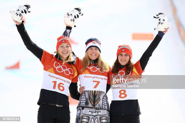 Silver medalist Selina Jorg of Germany gold medalist Ester Ledecka of the Czech Republic and bronze medalist Ramona Theresia Hofmeister of Germany...