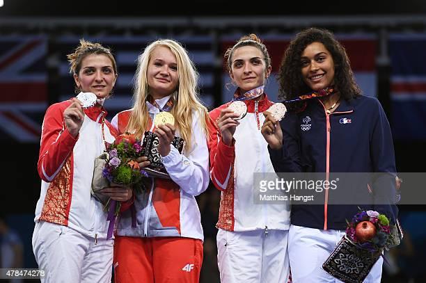 Silver medalist Sevil Bunyatova of Azerbaijan gold medalist Angelika Wator of Poland bronze medalist Sevinc Bunyatova of Azerbaijan and bronze...