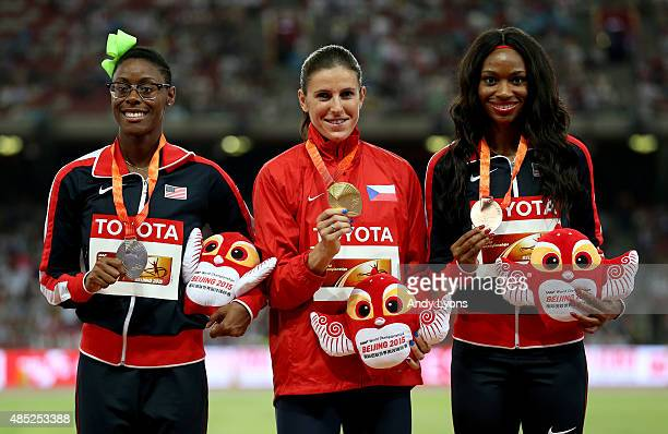 Silver medalist Shamier Little of the United States gold medalist Zuzana Hejnova of the Czech Republic and bronze medalist Cassandra Tate of the...