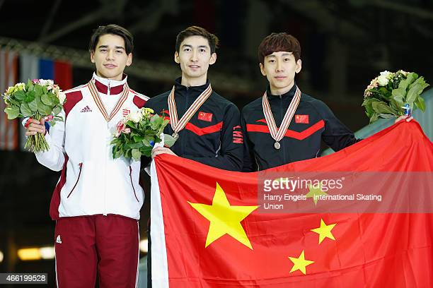 Silver medalist Shaolin Sandor Liu of Hungary Gold medalist Dajing Wu of China and Bronze medalist Tianyu Han of China pose with their medals...