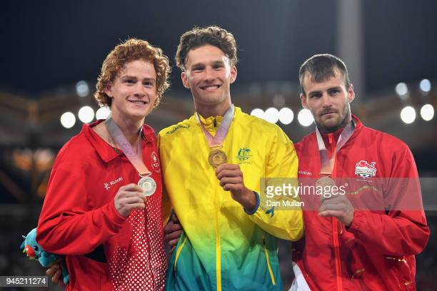 Silver medalist Shawnacy Barber of Canada gold medalist Kurtis Marschall of Australia and bronze medalist Luke Cutts of England pose during the medal...