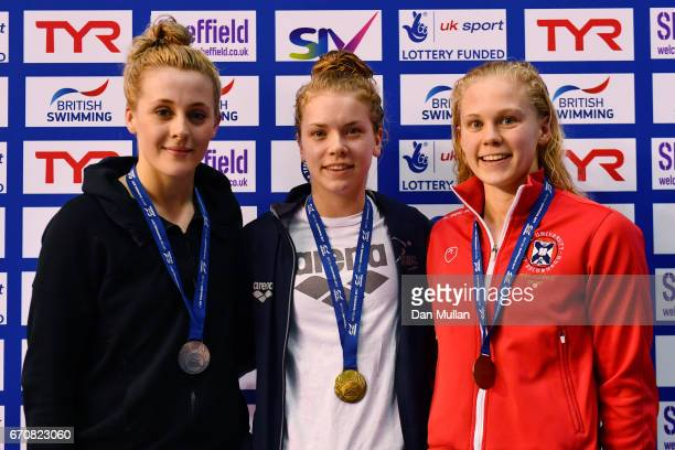 Silver medalist SiobhanMarie O'Connor of Bath Uni gold medalist Anna Hopkin of Ealing and bronze medalist Lucy Hope of Edinburgh Uni pose with the...