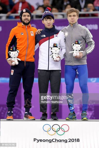 Silver medalist Sjinkie Knegt of the Netherlands gold medalist Hyojun Lim of Korea and bronze medalist Semen Elistratov of Olympic Athlete from...