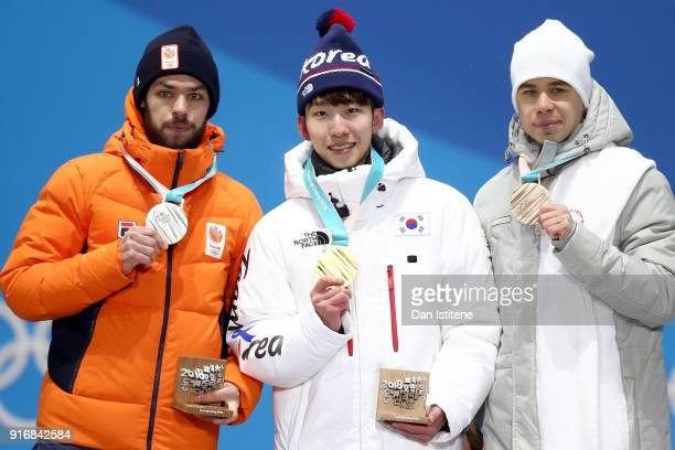Silver medalist Sjinkie Knegt of the Netherlands gold medalist Lim Hyo Jun of South Korea and bronze medalist Semen Elistratov of Olympic Athletes...