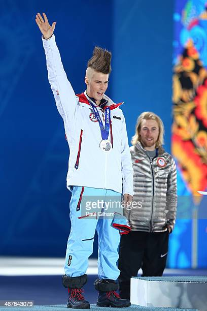 Silver medalist Staale Sandbech of Norway celebrates during the medal ceremony for the Snowboard Men's Slopestyle during day 1 of the Sochi 2014...