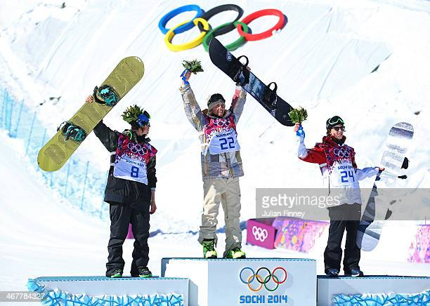 Silver medalist Staale Sandbech of Norway gold medalist Sage Kotsenburg of the United States and bronze medalist Mark McMorris of Canada pose on the...