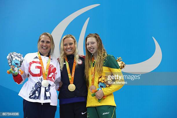 Silver medalist Stephanie Millward of Great Britain Gold medalist Jessica Long of the United States and Bronze medalist Lakeisha Patterson of...