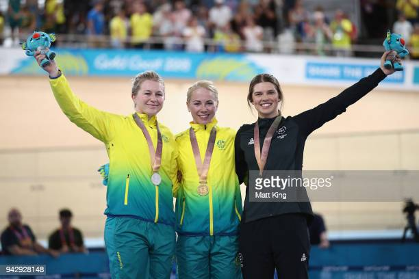 Silver medalist Stephanie Morton of Australia gold medalist Kaarle McCulloch of Australia and bronze medalist Emma Cumming of New Zealand pose during...
