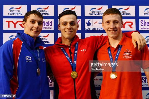 Silver medalist Stephen Milne of Perth City gold medalist James Guy of Bath Uni and bronze medalist Max Litchfield of Co Sheffield pose with the...