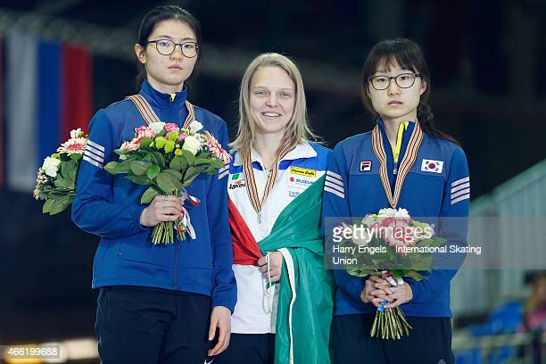 Silver medalist Suk Hee Shim of Korea Gold medalist Arianna Fontana of Italy and Bronze medalist Minjeong Choi of Korea pose with their medals...